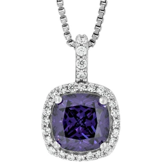 Jools by Jenny Brown Sterling Silver Cubic Zirconia Square Cushion... (6.520 RUB) ❤ liked on Polyvore featuring jewelry, pendants, amethyst, amethyst pendant, amethyst jewelry, cz jewelry, white jewelry and sterling silver charms pendants