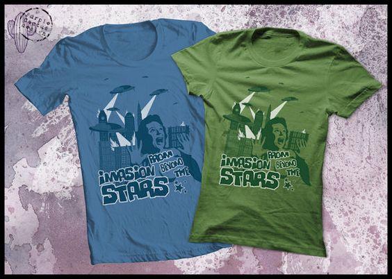 BMovie T shirt Invasion from beyond the by purplecactusdesign, $23.50