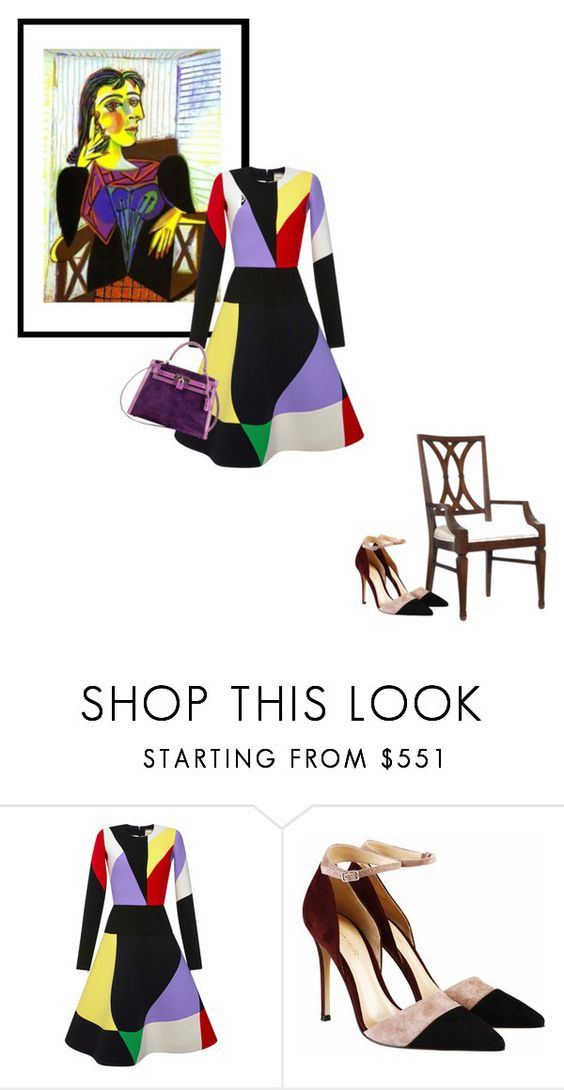 """""""Puglisi/Picasso"""" by theitalianglam ❤ liked on Polyvore featuring Hooker Furniture, FAUSTO PUGLISI, Gianvito Rossi, Hermès, women's clothing, women's fashion, women, female, woman and misses"""