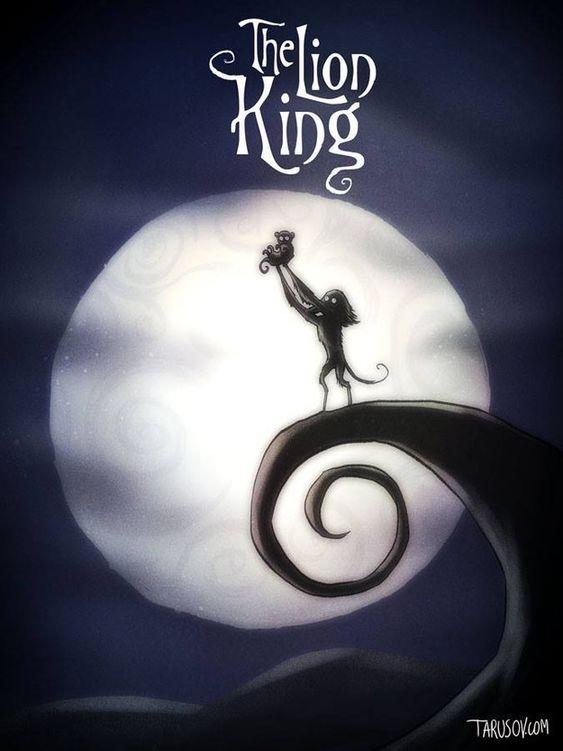 Der König der Löwen: Sogar der spiralförmige Hügel aus Nightmare Before Christmas ist in diesem Bild drin! | So würden Disney-Filme aussehen, wenn Tim Burton Regie geführt hätte