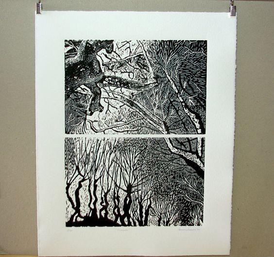 Grabado original en linóleo de árboles.