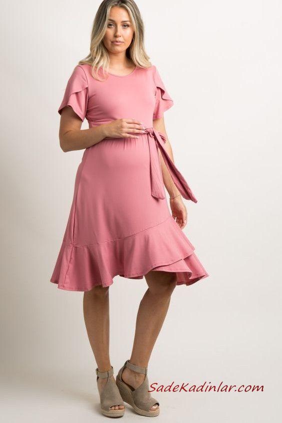 2019 Hamile Elbise Modelleri Pembe Kisa Bagcikli Kisa Kol Firfir Detayli Elbise Elbise Modelleri The Dress