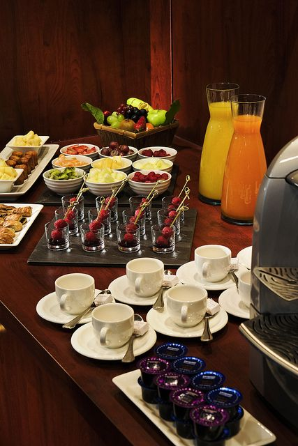 Coffee break, with juices, fruit and pastries at the meeting room Picasso from Hotel Concorde Montparnasse paris france by Concorde Hotels Resorts, via Flickr