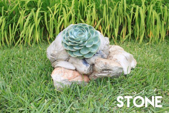 Light stone succulent pot style . Piedra ligera estilo maceta suculenta.