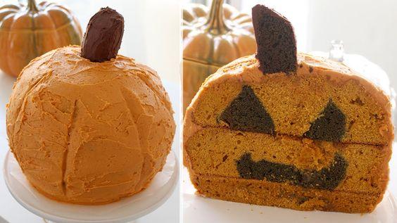 Inside-Out Jack-O-Lantern Cake | 裏返したカボチャちょうちんのケーキ