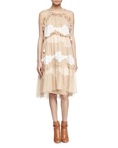 w07m5 chloe ruffle tiered floral lace inset dress