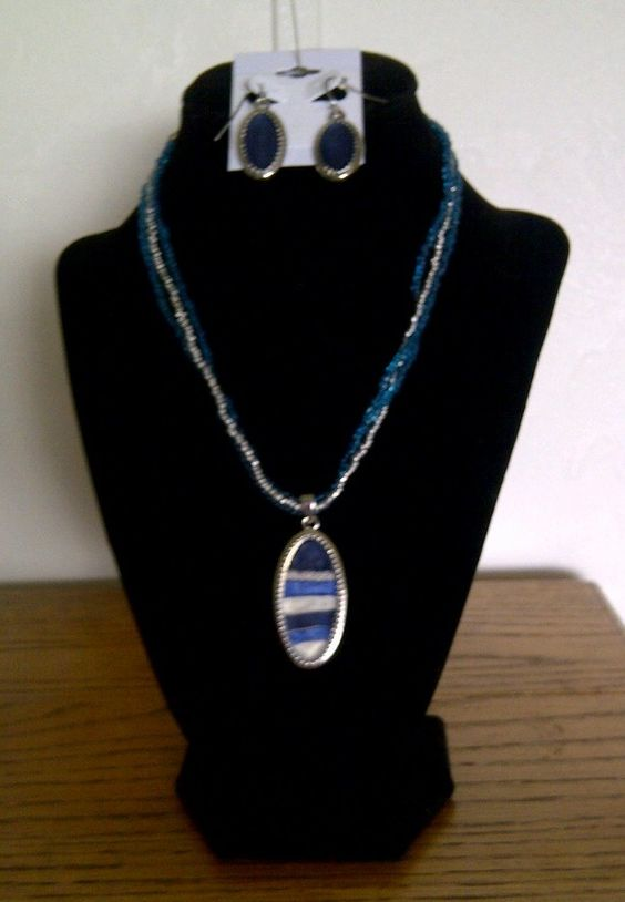 blue and white with matching earrings   $20.00