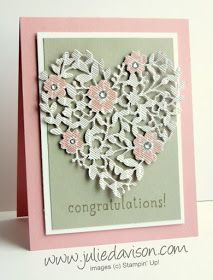 2016 Stampin' Up! Occasions Catalog Sneak Peek: Bloomin' Heart Thinlit Wedding Card #stampinup www.juliedavison.com: