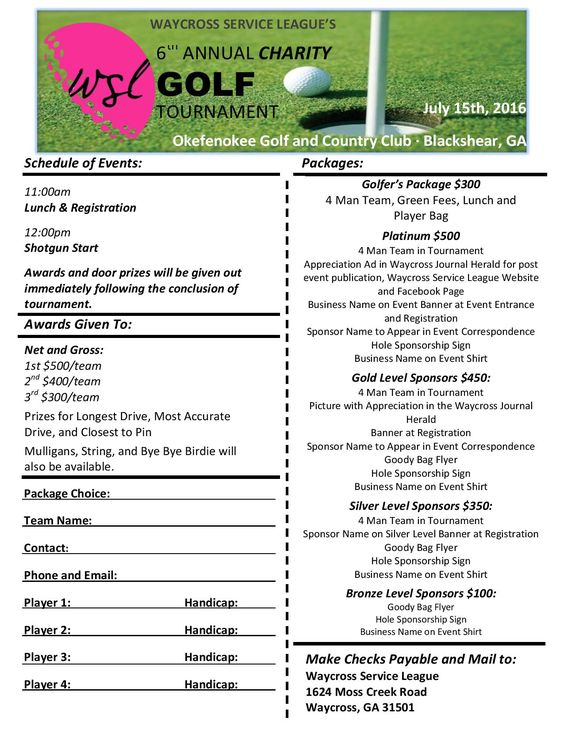 We Will Be Having Our Th Annual Charity Golf Tournament At The