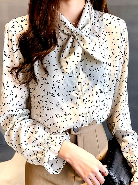 Bow Collar Patchwork Print Blouses #Blouses