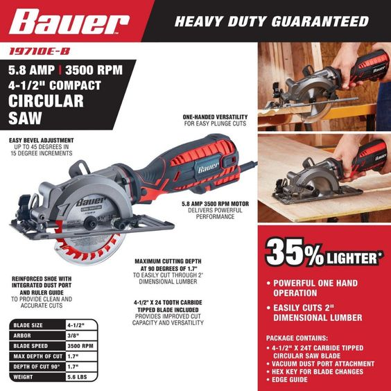 4 1 2 In 5 8 Amp Compact Circular Saw In 2020 Compact Circular Saw Best Circular Saw Circular Saw