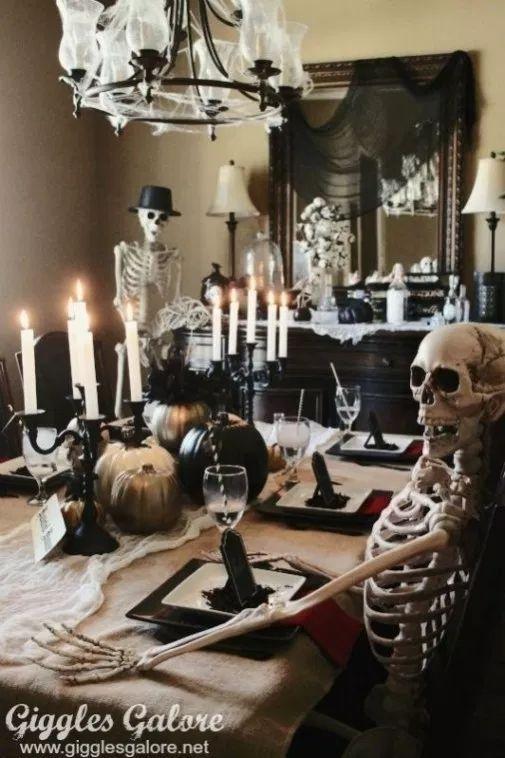 Fascinating Halloween Decor Ideas With Skeletons 11 Halloweendeko Halloween Selber Machen Tischdeko Halloween