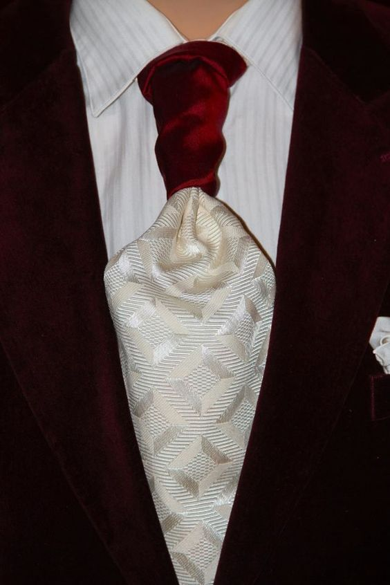 Promo Code TIEGUY33 to get 33% off. This custom STERLING-SCOTT Tie is just pure STRIKING, with it's Diamond cross hatched Jacquard Ivory White Cotton Design, backed by a Deep Juicy Cherry Red Silk, capped by a Crimson Crushed velvet Moroccan design, will bring a Stadium PRIDE to any room that the Owner of this STERLING-SCOTT Tie is in!  #cravat #necktie #hybridnecktie #ascot #groomsmengift