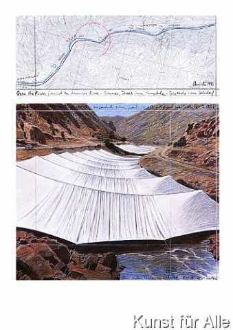 Christo und Jeanne-Claude - Over the River I Above