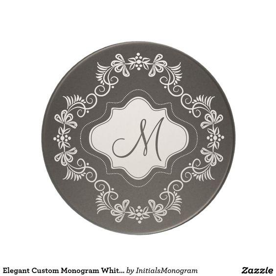 Elegant Custom Monogram White Flourish Frame Black Sandstone Coaster