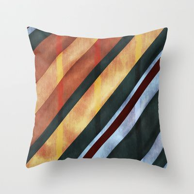 Vintage Color Lines Throw Pillow