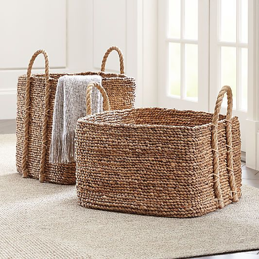 Baskets Wicker Wire Woven And Rattan Crate And Barrel In 2020 Square Baskets Large Woven Basket Crate And Barrel