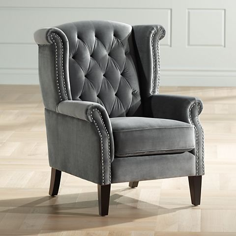 Williamsburg Gray Tufted Wingback Armchair 37t51 Lamps Plus Wingback Armchair Arm Chairs Living Room Armchair