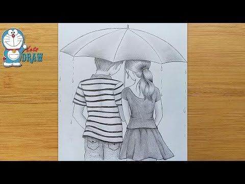 How To Draw Couple With Umbrella Step By Step Boy Girl Pencil Sketch Youtube Pencil Sketch Couple Drawings Cute Couple Drawings