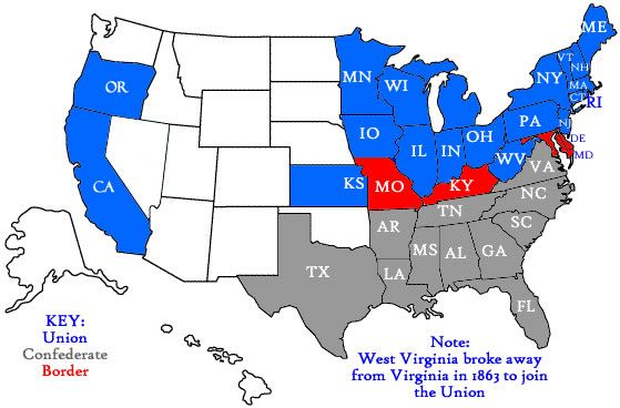 Map Of Confederate And Union States Google Search Virginia - 1860 us map worksheet