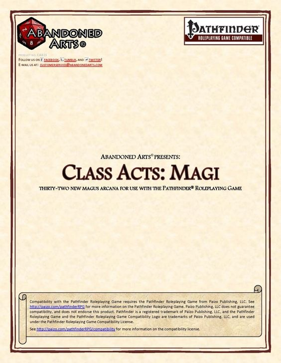 Class Acts: Magi -  arcanas herein are rather various in their design approaches - starting with e.g. gaining arcane blast as a bonus feat, 1 round of flight equal to your land speed, granting the dancing, merciful, defending quality temporarily to your weapon, dimension door short distances, duplicate hypnosis-effects by waving with your blade etc.  Beyond that, there also are some abilities that allow you to spend arcane pool points to add +4 to dispel checks, to saves against spells you…