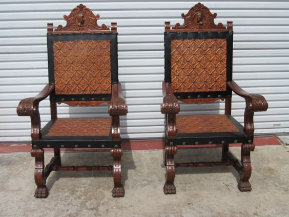 Antique Chairs Antique Armchairs Pair of Chairs Spanish Antique Furniture-  perfect pair of chairs (his & hers) to go in my future prayer room-