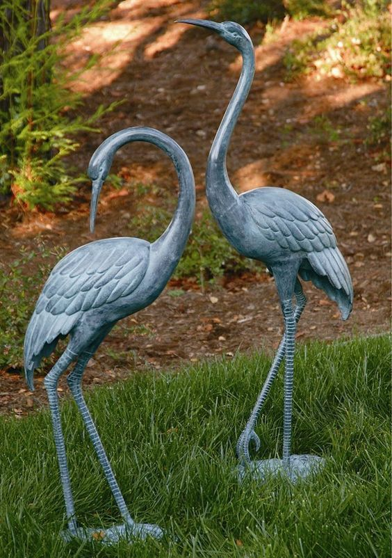"Bronze Heron Pair Coastal Metal Garden Statue Crane Bird Yard Art Sculpture 44/"""