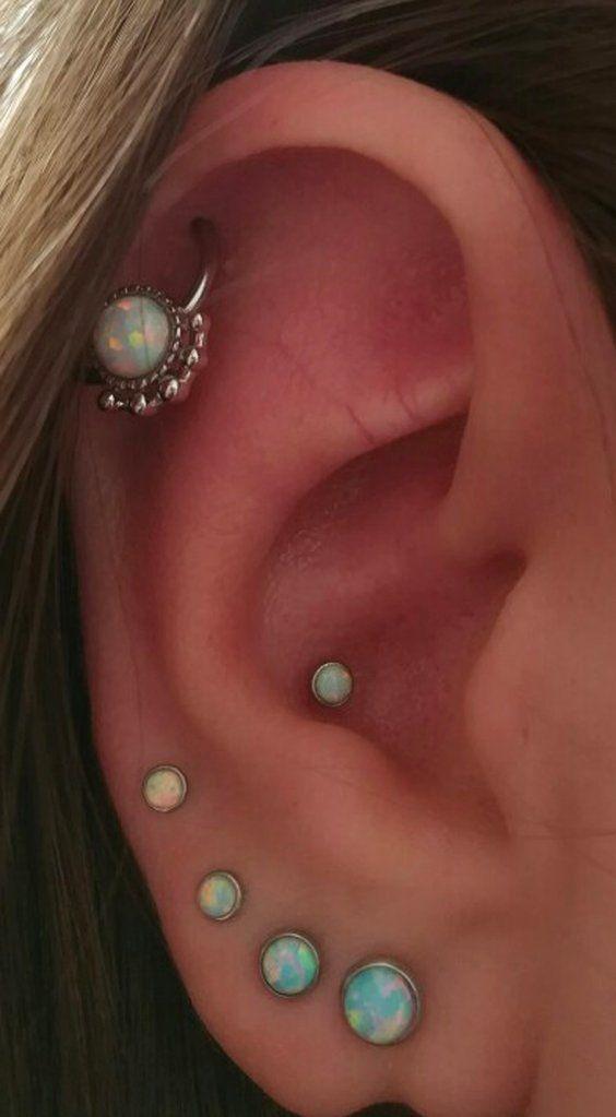 16G Opal Sun Cartilage Tragus Barbell Stud Ear Ring Bar Body Piercing Jewellery