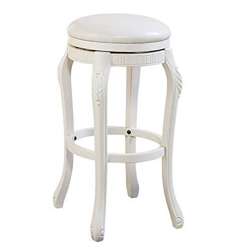Cveue Ho Barstool Wooden Swivel Bar Stool With White Leather Seat For Bar Kitchen Use Swivel Bar Stool In 2020 Wooden Swivel Bar Stools Elegant Bar Stools Bar Stools