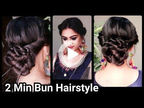 2 Min Indian Bun Hairstyle For Diwali Easy Hairstyles For Medium To Long Hair Party Hairstyle In 2020 Indian Bun Hairstyles Bun Hairstyles Traditional Hairstyle