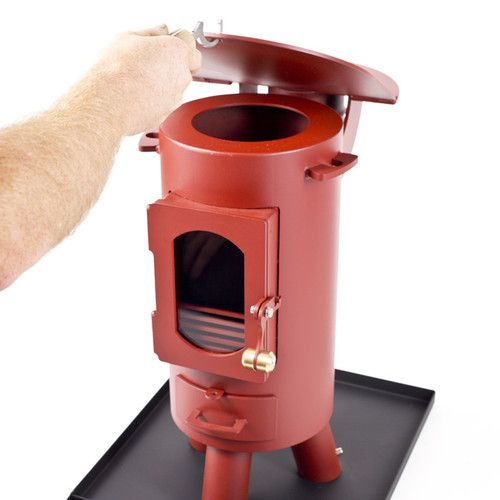 The Traveller stove log burner mutli-fuel portable wood burner Mojave Red | eBay