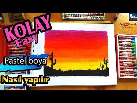 Pastel Boya Ile Manzara Resmi çizimi çöl Manzara Adım