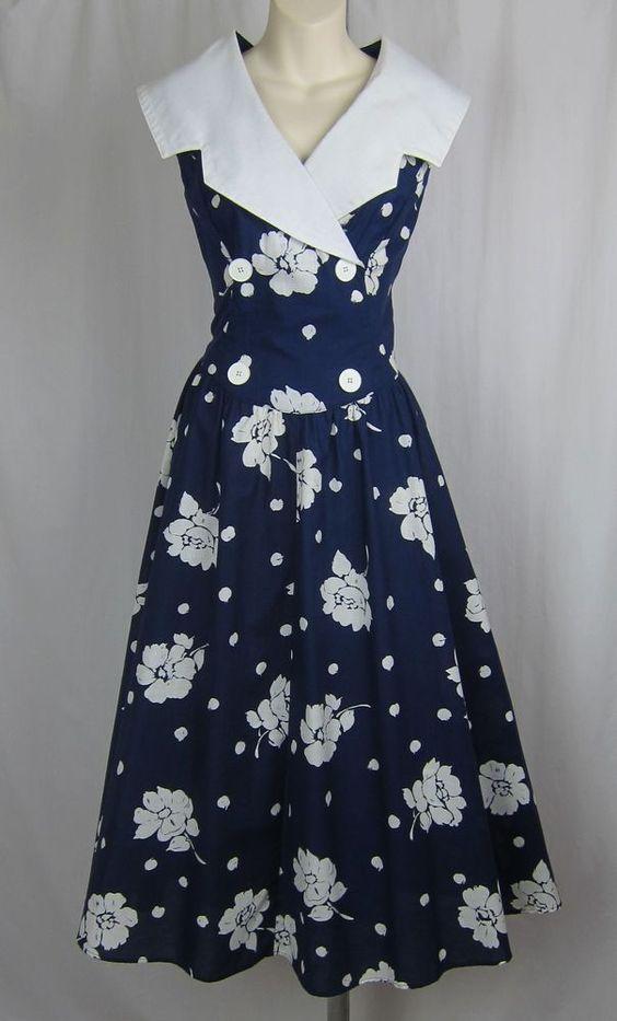 ROBBIE BEE VTG blue sailor dress full skirt 90s flare navy white midi floral 14 #RobbieBee