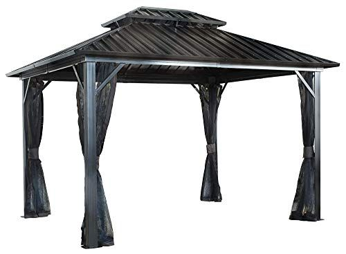 Sojag 12 X 16 Genova Double Roof Hardtop Gazebo 4 Season Outdoor Sun Shelter With Mosquito Net Black Brown Sojag