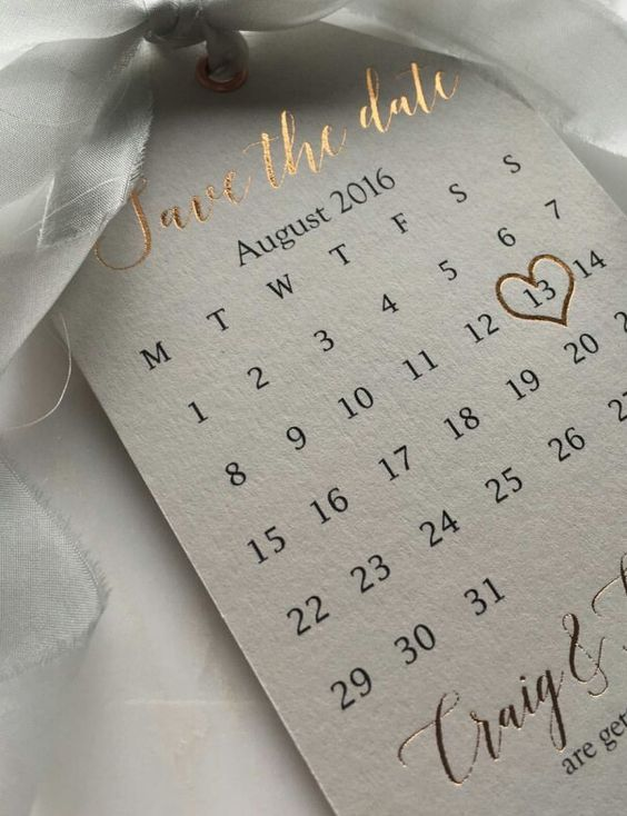 Rose Gold lettering on save the date thick paper card