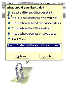 Microsoft office help paperclip
