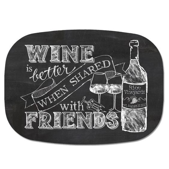 Personalized melamine tray chalkboard wine and friends for Wine chalkboard art