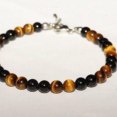 Bracelet de cheville noir et brun pierre de gemmes agate/oeil de tigre et acier inoxydable