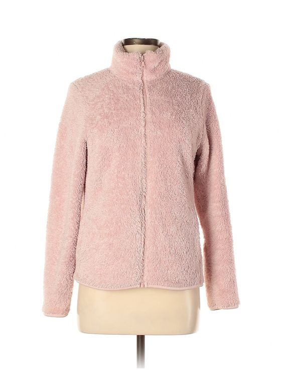 Uniqlo Fleece: Pink Solid Women's Jackets & Outerwear - Size Medium