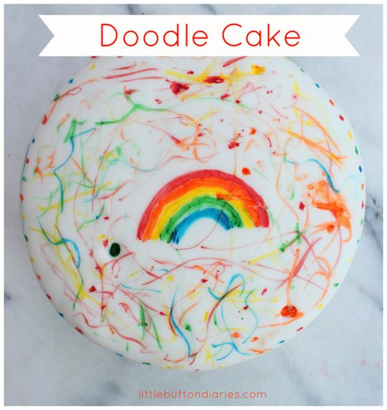Doodle cake DIY! A fabulous cake that your toddler can decorate on his/her own, using edible food-marker pens. See the recipe on Little Button's blog.