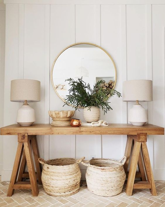 25 Ideas To Style Your Console Table For Summer Rustikales Haus Dekoration Haus Dekoration