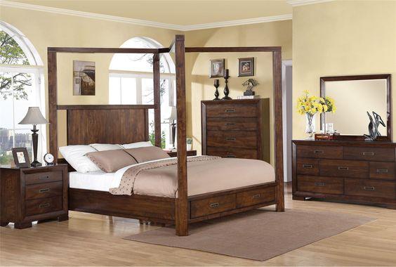 California King Canopy W Storage Bed, Tesla, Medium brown - elegantes himmelbett joseph walsh