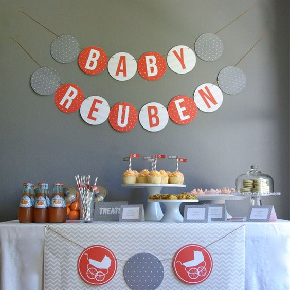 Modern grey and orange baby shower inspiration for Baby shower modern decoration
