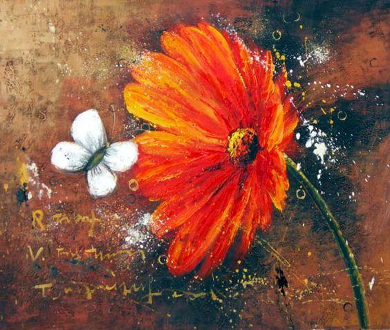 Peinture moderne marguerite orange. Tableau fleurs marguerites ...