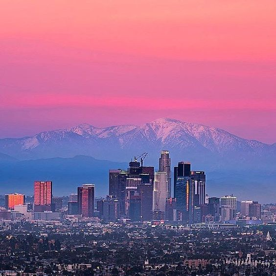 Downtown L.A. and mountains in the background. #losangeles