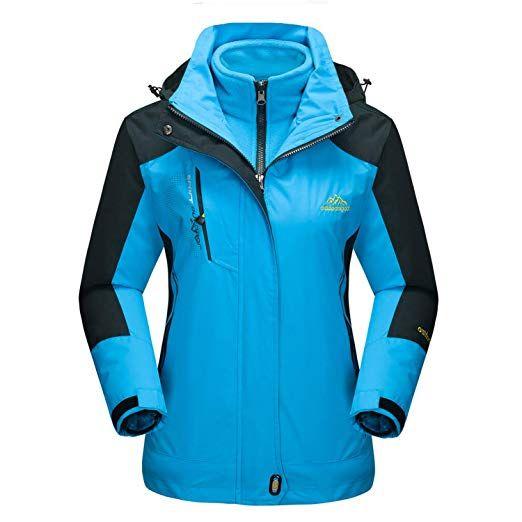 MAGCOMSEN Womens Ski Jackets Water Resistant Softshell Winter Jackets Outdoor Windproof Warm Fleece Lining Hiking Fishing Coats with Detachable Hood