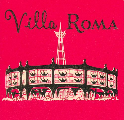 Vintage artwork for Villa Roma Motor Hotel, San Francisco
