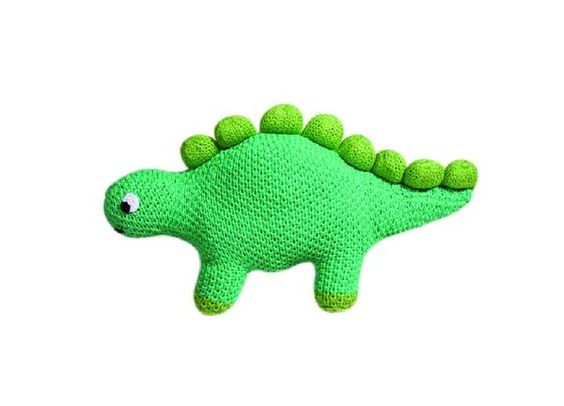 """Meet Stewart, the gentle and soft hand-knit stegosaurus Perfect for ages 0+. This toy is 10"""" (inches) Measures 4-inches in size. Made with 100% cotton and eco-f"""