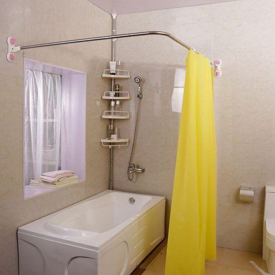 L Shaped Shower Curtain Rod Suction Cups Corner Bath Curtain Rail