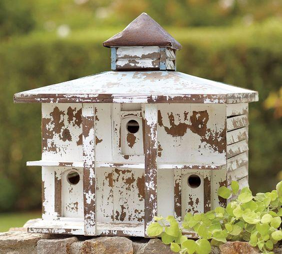 wonderful perfectly chippy shabby bird house...